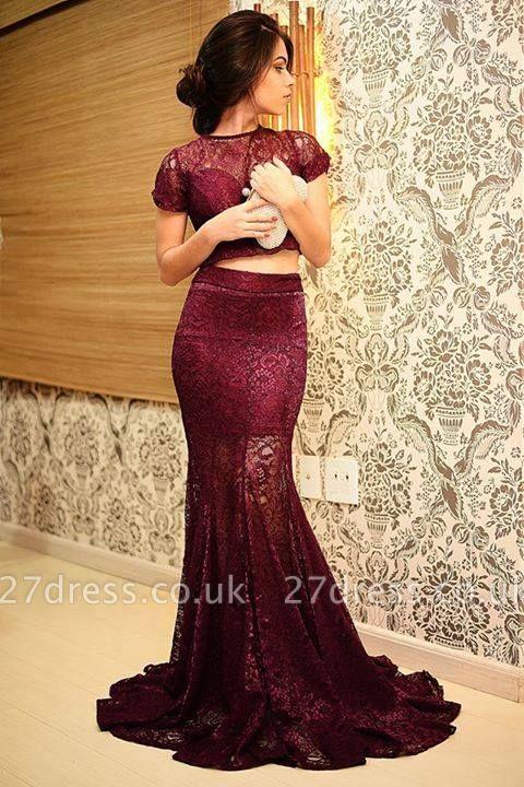 Elegant Mermaid Two Piece Lace Prom Dress UK Short Sleeve