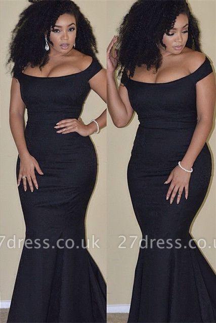 Elegant Black Mermaid Prom Dress UK Plus Size Off-the-shoulder BA3784