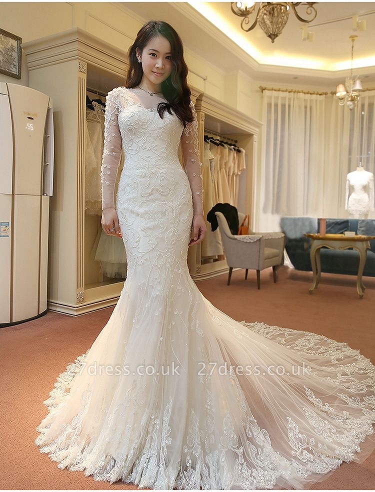 Stunning Long Sleeve Lace Wedding Dresses UK Sexy Mermaid With Train