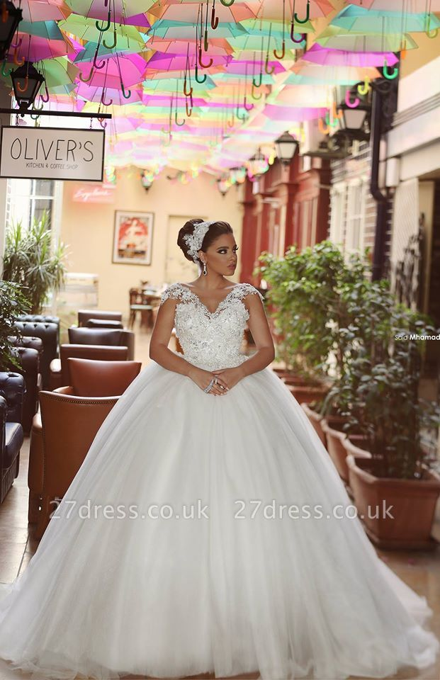 Delicate Tulle Lace Flowers Wedding Dress Ball Gown Cap Sleeve Plus Size