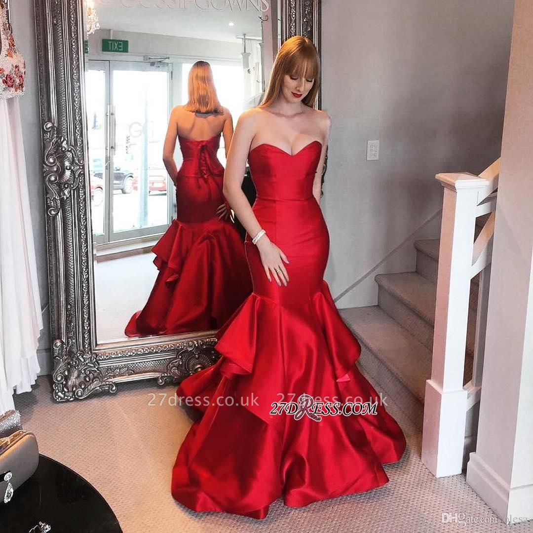 Lace-up Sweep-trian Red Sweetheart Mermaid Tired Evening Dress UK