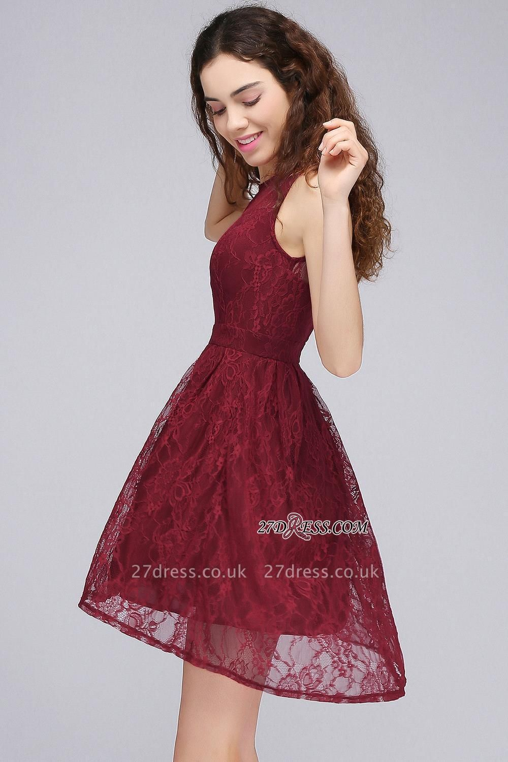 Burgundy Illusion Sleeveless A-line Lace Newest Homecoming Dress UK