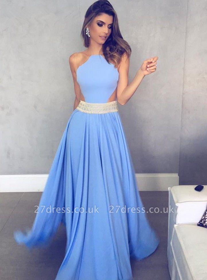 Sexy Sleeveless A-Line Chiffon Halter Womens Evening Dress UK BA6830