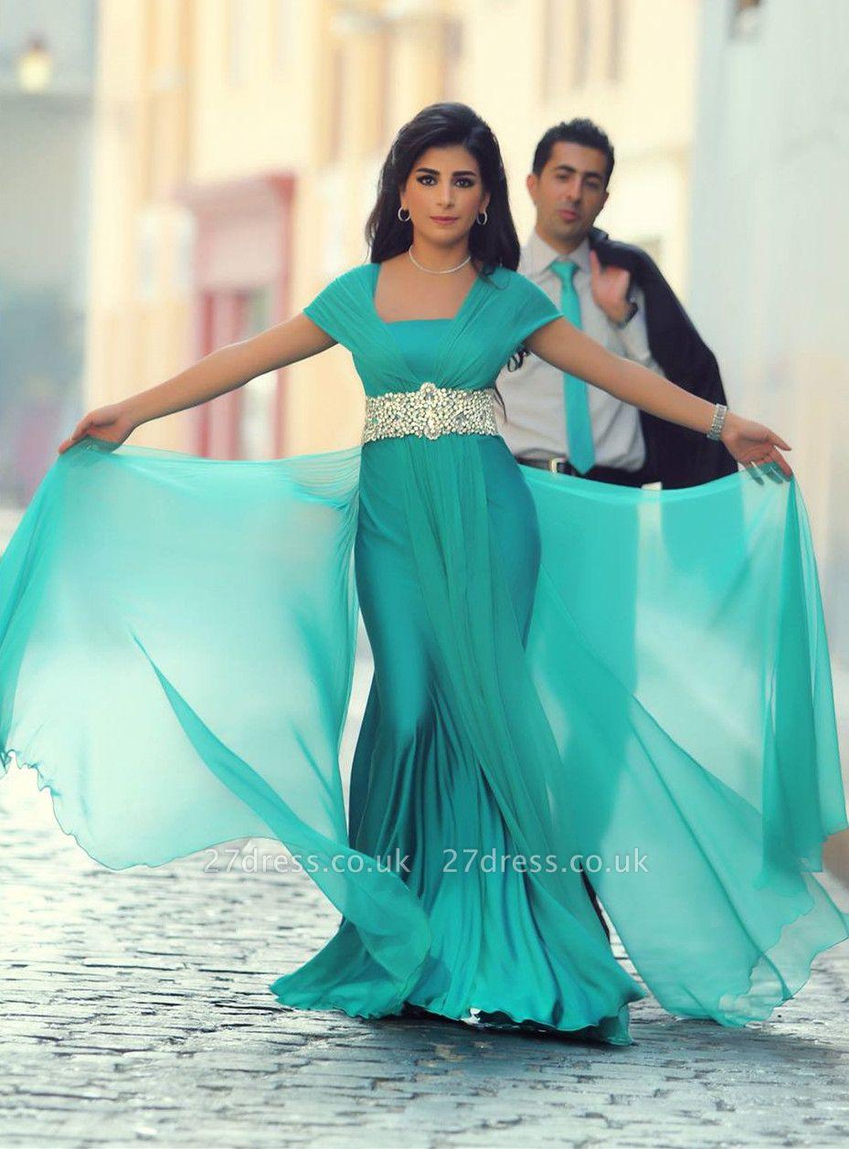 Modern Short Sleeve Mermaid Prom Dress UK Crystals Floor-length