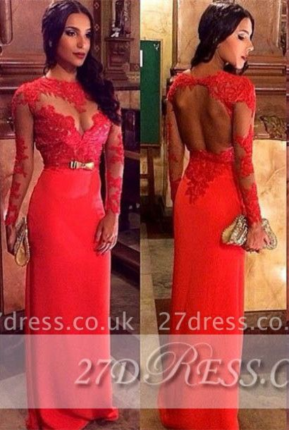 Modest Long Sleeve Appliques Prom Dress UKes UK Jewel Floor Length Evening Gowns BK0