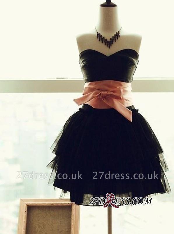 Short Tiers Little Sweetheart-Neck Sash with Bow Black Dress UKes UK
