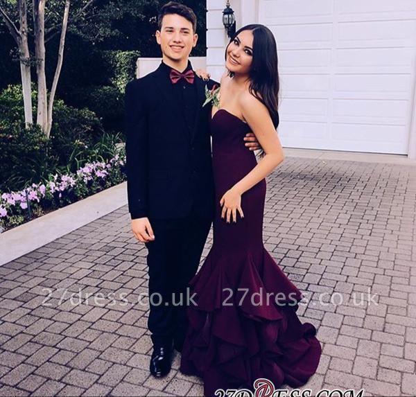 Mermaid Sleeveless Ruffles Newest Sweep-Train Sweetheart Prom Dress UK