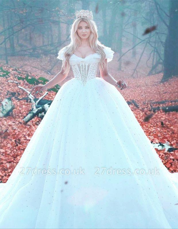 Elegant Off-the-shoulder Princess Wedding Dress Tulle Beads Sequins BA7469