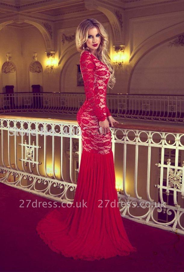 Elegant Red Long Sleeve Lace Prom Dress UKes UK Mermaid Long