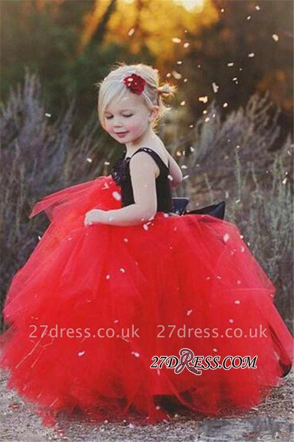 Lovely Black and Red Tulle Flower Girl Dress