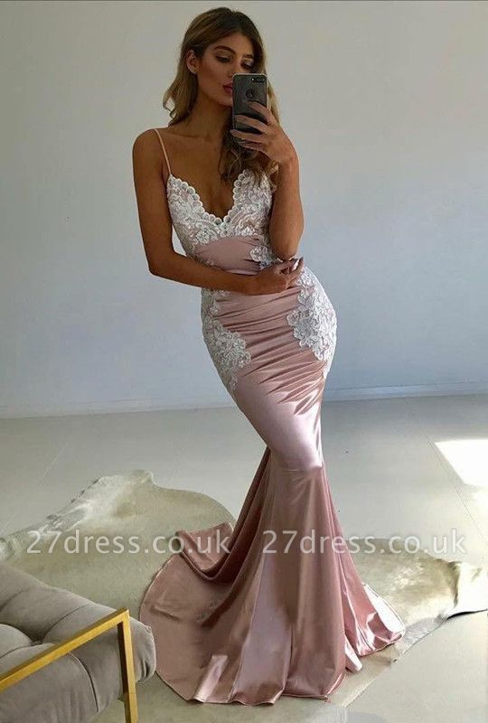 Spaghetti-Straps Lace Prom Dress UK | V-Neck Evening Party Gowns