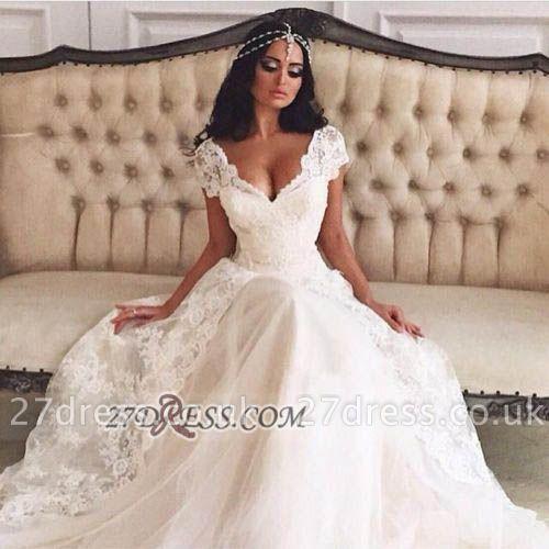 Elegant V-Neck Tulle Lace Wedding Dress Cap Sleeves