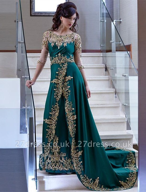 Luxury Half Sleeve Evening Dress UK Lace Appliques Online