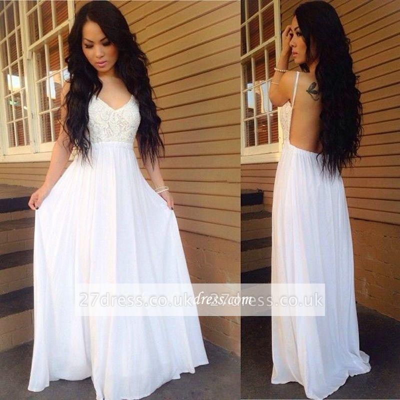 Chiffon Lace Spaghetti-Strap White A-line Newest Backless Prom Dress UK