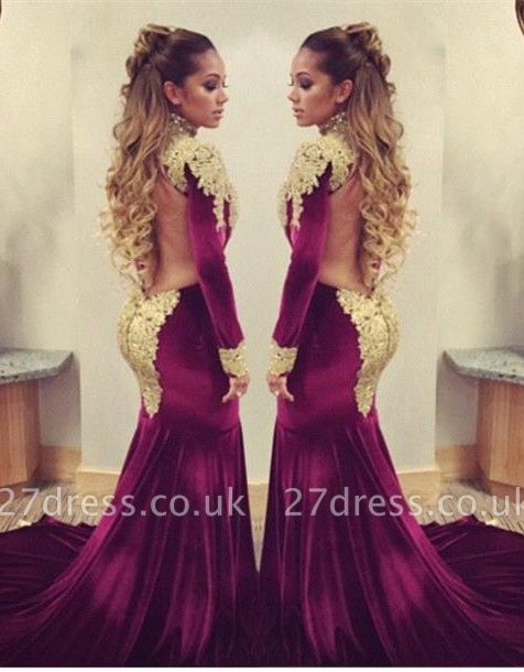 Stunning Long Sleeve Golden Appliques Evening Dress UKes UK Mermaid With Train