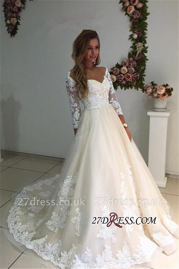 Backless Appliques Lace Long A-Line Sleeves Ivory Tulle Wedding Dresses UK