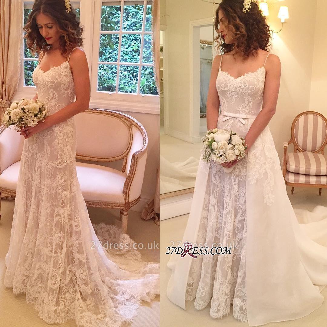 Backless  Sheath Spaghetti-Straps Appliques Wedding Dresses UK