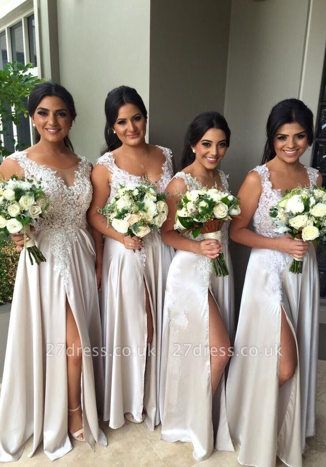 Elegant Lace Appliques Front Split Bridesmaid Dress UK A-line Floor-length