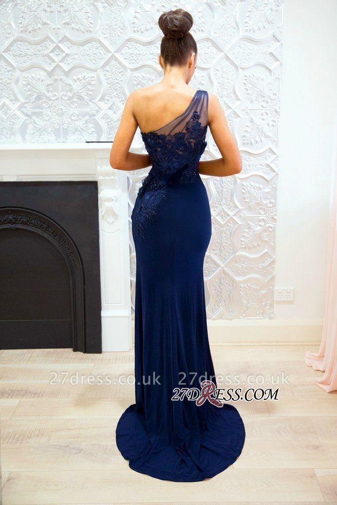 One shoulder lace prom Dress UK, long evening Dress UK BA9092