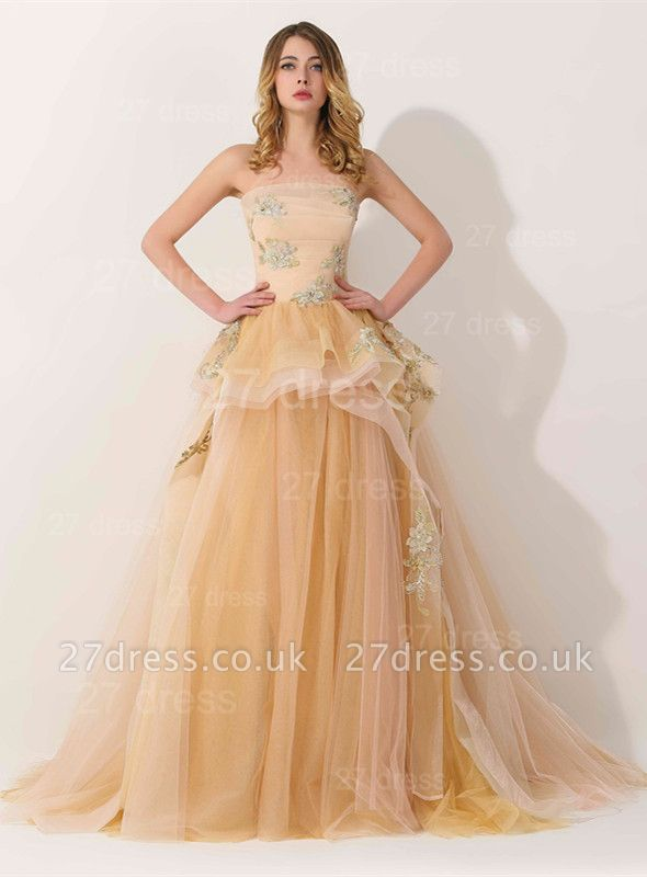 Newest Strapless Princess Tulle Evening Dress UK Lace Appliques
