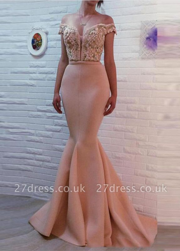 Luxury Off-the-shoulder Mermaid Pearls Zipper Evening Dress UK BA7121