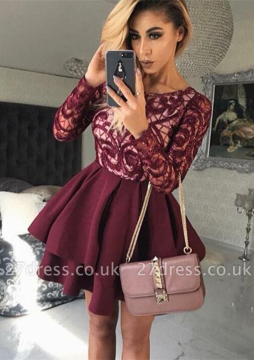 Sexy Long-Sleeve Burgundy Homecoming Dress UK | Short Prom Party Dress UK On Sale