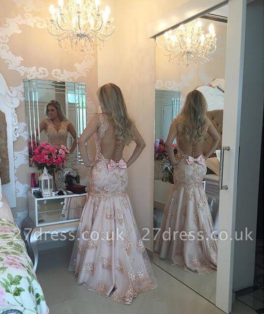 Modern V-neck Mermaid Evening Dress UK Sequins Sweep Train Bowknot BA4521