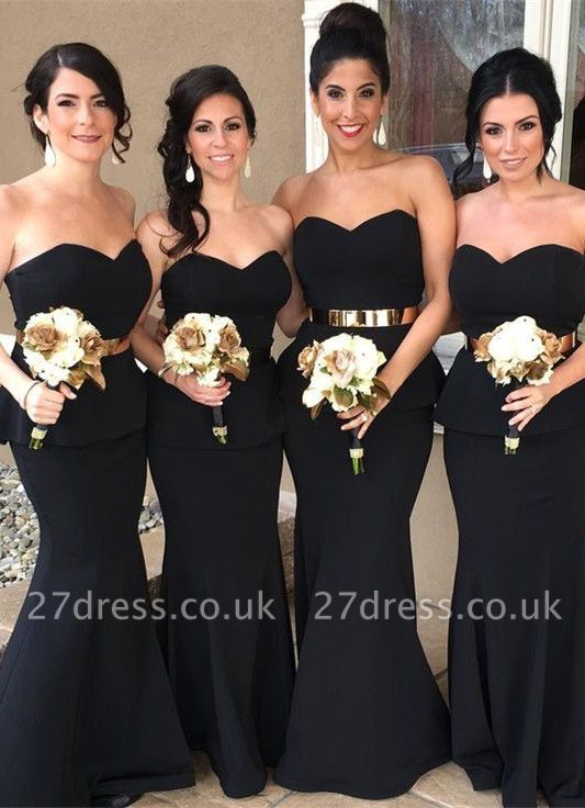 Gorgeous Sweetheart Mermaid Bridesmaid Dress UK Long With Golden Sash