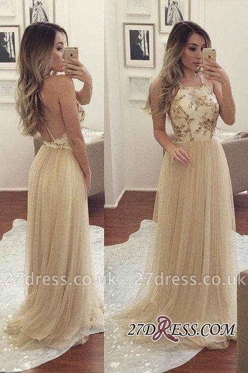 Beads Chiffon Newest A-line Sleeveless Spaghetti-Strap Prom Dress UK