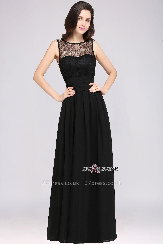 Jewel Black Keyhole Elegant Sheath Lace Floor-length Chiffon Evening Gown