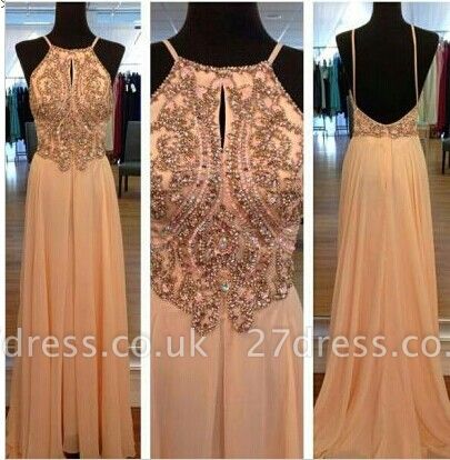 Elegant Spagetti Long Prom Dress UK Chiffon Straps Evening Party Gowns with Beadings Crystal