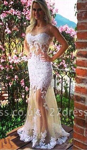 Elegant White Tulle Mermaid Evening Dress UKes UK Bateau Sleeveless Prom Gowns