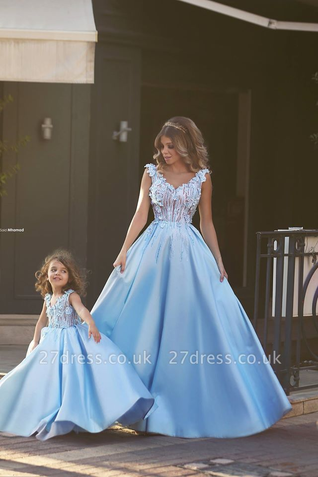 Newest Flowers Straps A-line Mother And Daughter Prom Dress UK Ball Gown BA4321