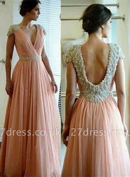 Sexy A-line Lace Appliques Prom Dress UK V-neck Beadings