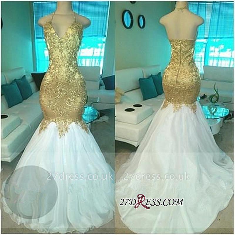 Mermaid Open-Back V-neck Elegant Beading Gold Prom Dress UKes UK BA5332