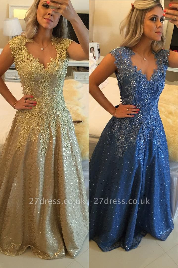 Gorgeous Cap Sleeve Lace Appliques Prom Dress UKes UK Floor Length Formal Wear