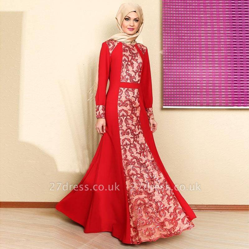 Sexy Long Sleeve Red Prom Dress UK With Appliques