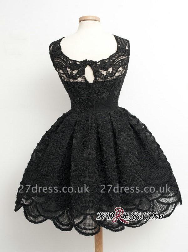 Knee-Length Little Dress UKes UK Lace Short Black Homecoming Dress UK