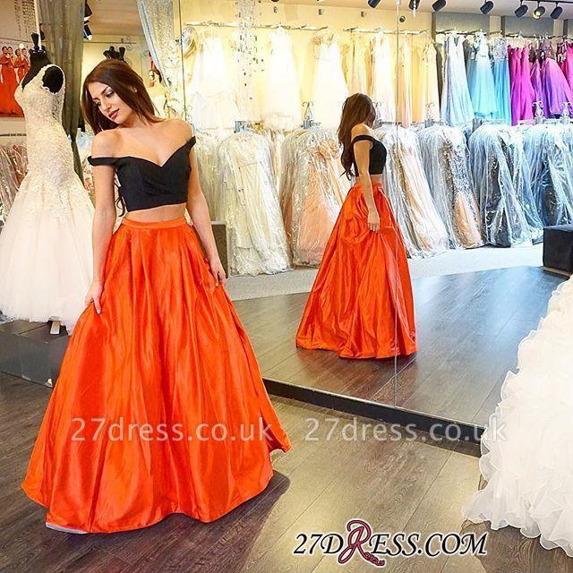 Elegant Two-Piece Long A-line Off-the-shoulder Prom Dress UK