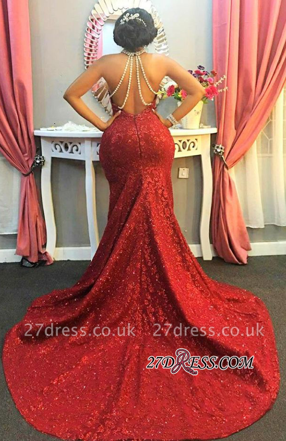 Red Halter Long-Train Sleeveless Pearls-Chain Sparkly Mermaid Amazing Open-Back Prom Dress UK