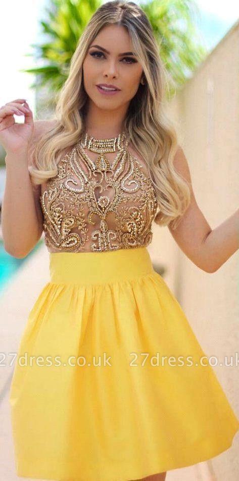 Charming Yellow Beadings Halter Short Homecoming Dress UK