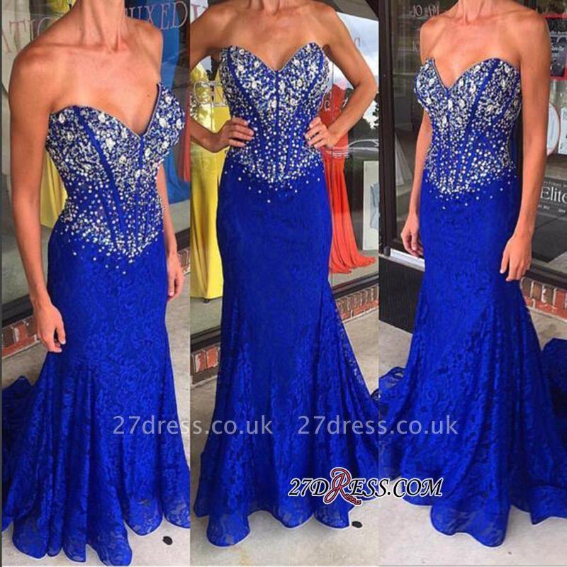 Sweetheart Mermaid Crystal Sweep-Train Lace Royal-Blue Prom Dress UKes UK