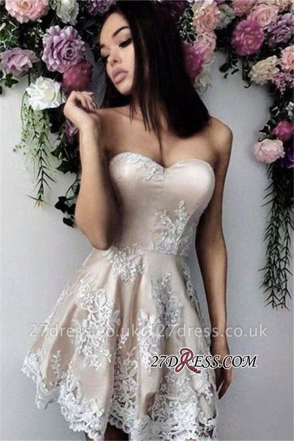 Short Simple Sweetheart A-line Appliques Homecoming Dress UK