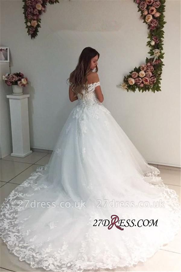 Off-the-Shoulder Lace Appliques A-Line Strapless White Wedding Dresses UK