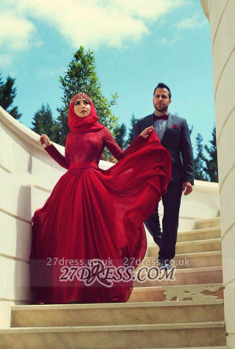 Elegant Red Lace Chiffon Prom Dress UK Long Sleeves Arabic Evening Gowns