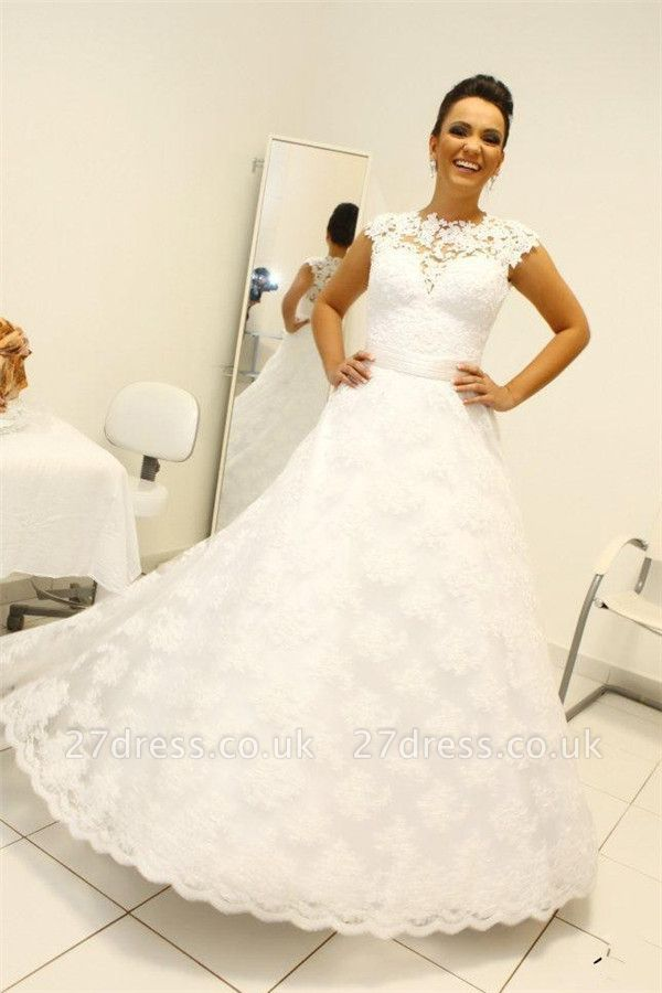 Newest Lace Appliques Wedding Dress A-line Zipper Button Back