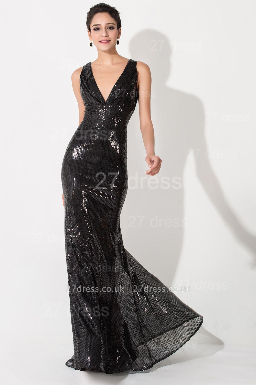 Elegant V-Neck Mermaid Sequins Evening Dress UK Sweep Train
