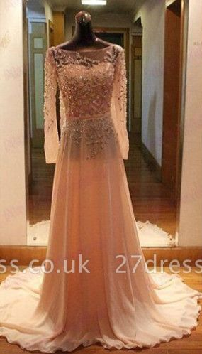 Luxury Long Sleeves Beadings Prom Dress UK Chiffon Long Party Gown