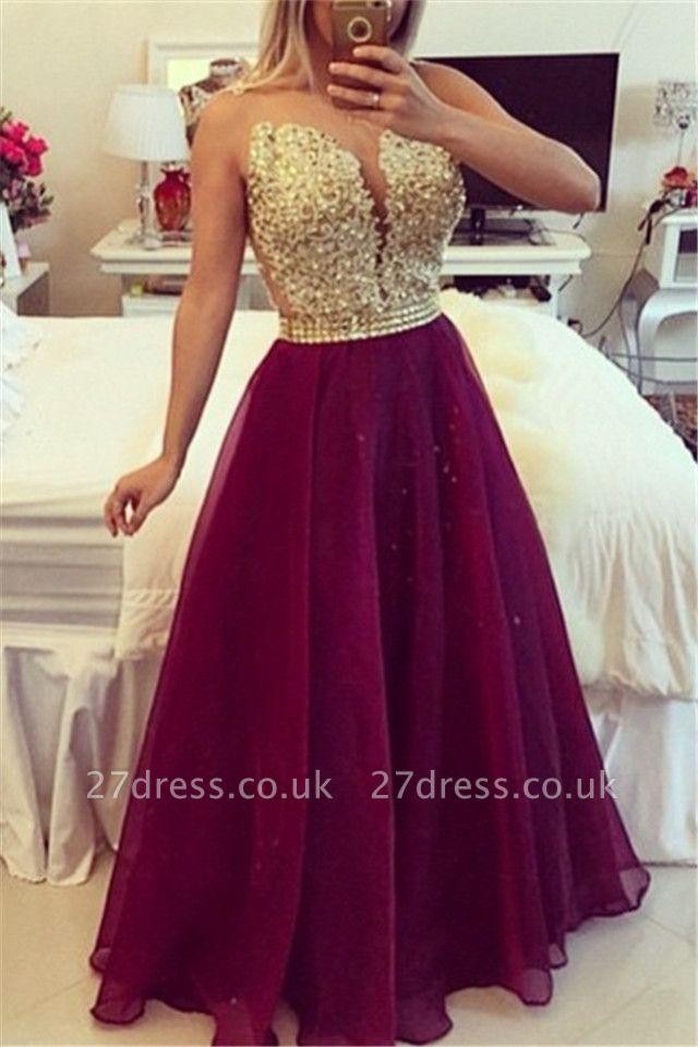 Elegant V-neck Sleeveless Prom Dress UK Beadings Crystals Floor-length