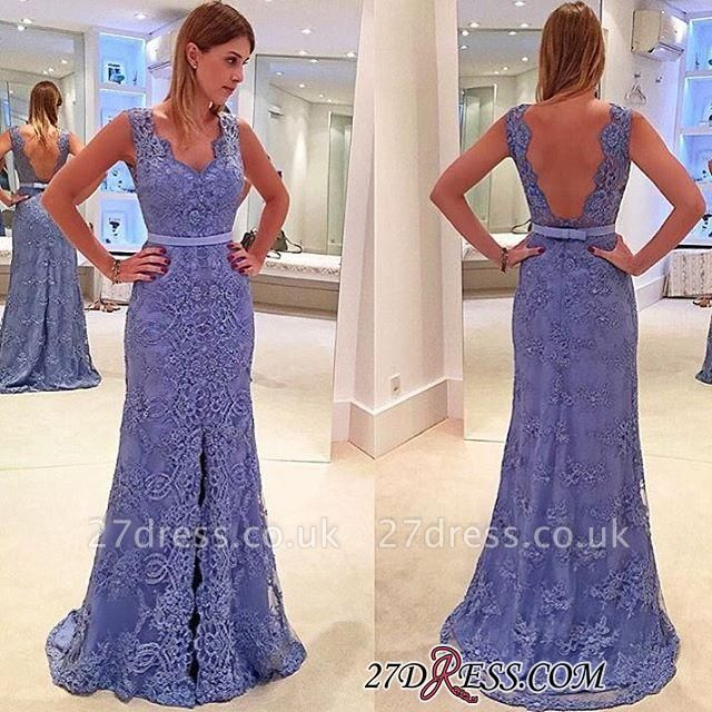 Delicate Front-Split Sleeveless A-line Straps Lace Prom Dress UK